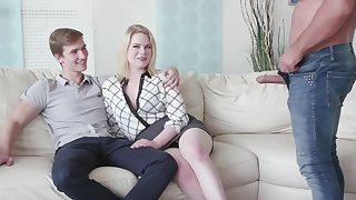 Cuckold boyfriend watches his GF Adry Berty having copulation with a stranger