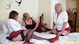 Three extremely horny matured lesbians captured while pussy shellacking and playing with sexual intercourse toys