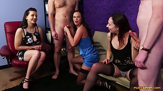 Abigail Angel with an increment of her charming friends playing with small dicks