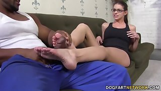 Giggling slutty nerdy nympho Brooklyn Chase fingers mortal physically as she gives footjob