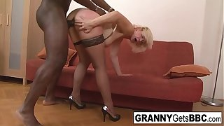 Dirty blonde mature gets her ass brim with black cock