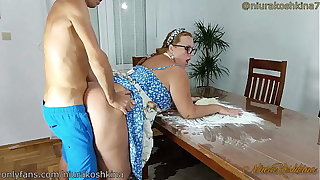Pregnant Channel on the way Mom Gets A Roger From Her Son Right In Her Kitchen  - MILF NiuraKoshkina