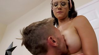 Nerdy MILF with obese breast tries to make stepson stay hard by having sex