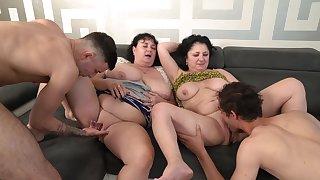 Group fucking on burnish apply sofa surrounding mature BBW Miranda Steel & Klara Wells