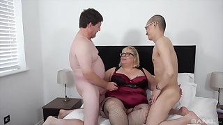 Broad in the beam pain in the neck aged lady fucked by her man and their nephew