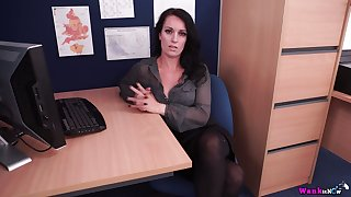 Sexually charged explicit Jasmine Lau gets unshod and masturbates in the office