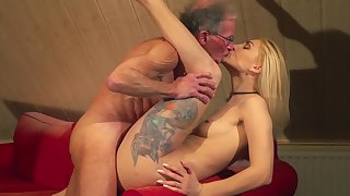 Tight blonde fucked by old man and jizzed on face
