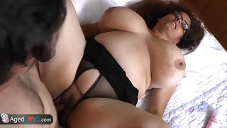 AgedLove chubby brunette horny man and bed great combination