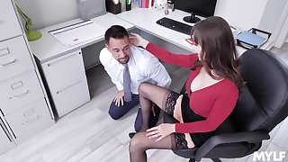 sexy secretary Lexi Luna adores sex at hand her colleague in her office