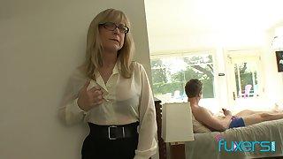 Mature fake tittied stepmom caught her stepson jerking off hard fat cock