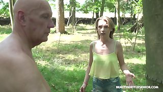 Dick crazy babe stops an old man exotic letting him cut dramatize expunge tree