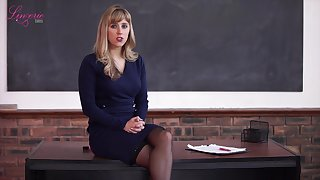 Chunky tittied teacher Louise gets naked and tells erotic stories