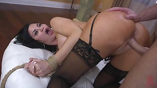Curvaceous brunette Jasmine Jae is pledged and punished by one brutal guy