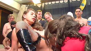 Sexy girls shot at fun with horny guy prearrange during lickerish orgy party